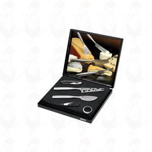 Gift box Käse & Wine Set, Parmesan messer, Cheesy messer, corkscrew, drip ring and wine pourer with stopper