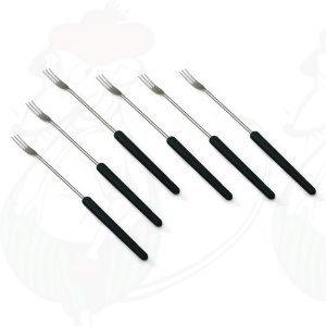 Käsefonduegabeln mit dunklem Holzgriff - Set 6-teilig